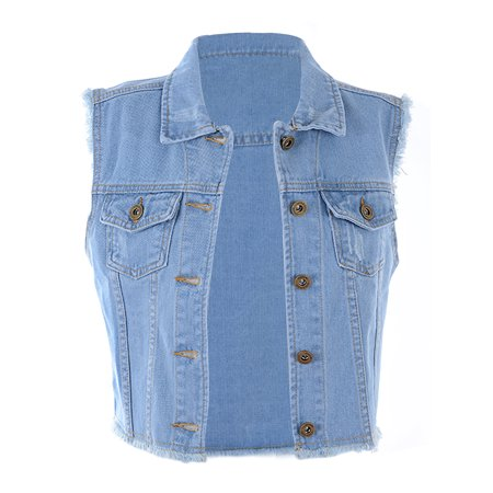 2b997a6160048f Anna-Kaci - Anna-Kaci Casual Loose Womens Top Distressed Denim Button Up  Sleeveless Crop Vest 5 Color - Walmart.com
