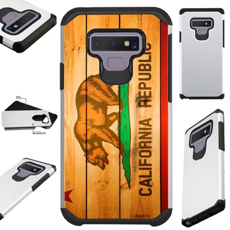 For Samsung Galaxy Note 9 Case Hybrid TPU Fusion Phone Cover (California Flag (Nose Wood)