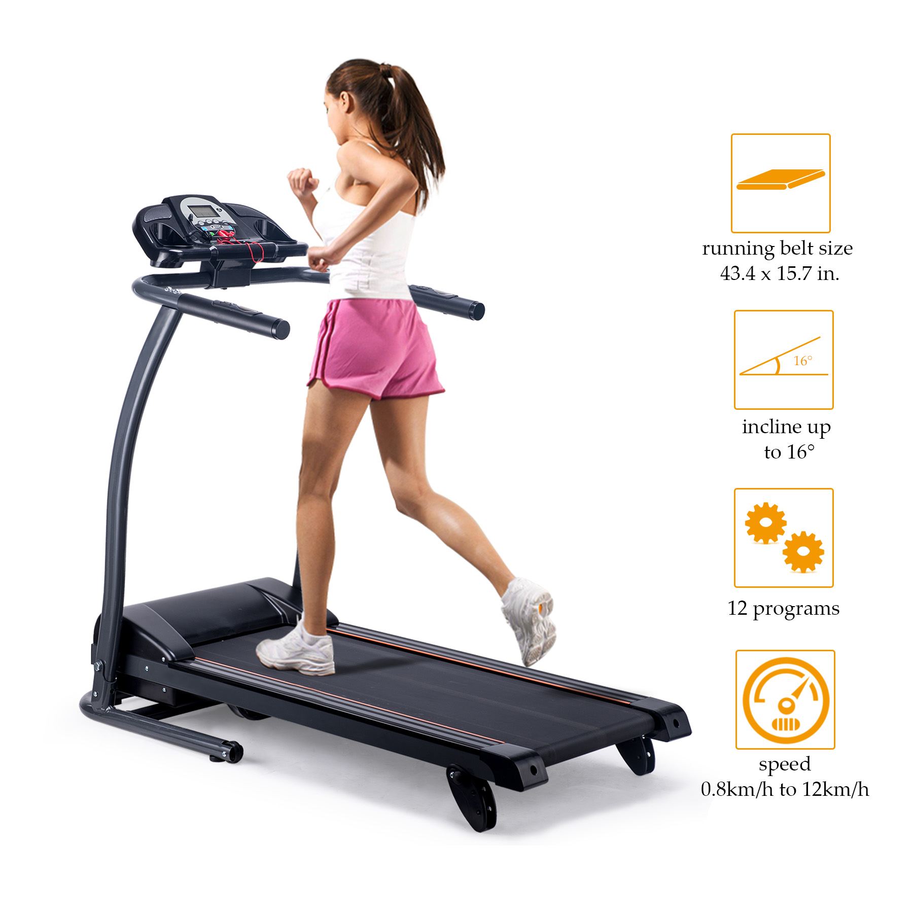 Foldable Fitness Health Running Machine Equipment Motorized Treadmill for Home