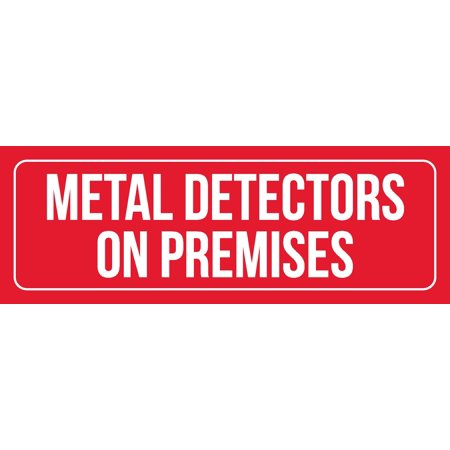 Red Background With White Font Metal Detectors On Premises Business Retail Outdoor & Indoor Plastic Wall Sign, 3x9 Inch