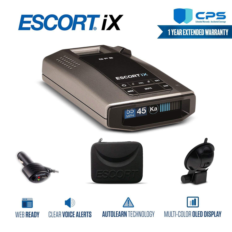 Escort iX Long Range Radar Laser Detector 0100028-1 + CPS Extended Warranty - Starter Bundle