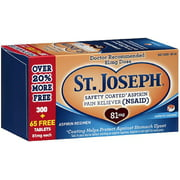 St. Joseph Low Dose Enteric Coated Aspirin Pain Reliever, 81mg MicroTablets 365 ea (Pack of 2)