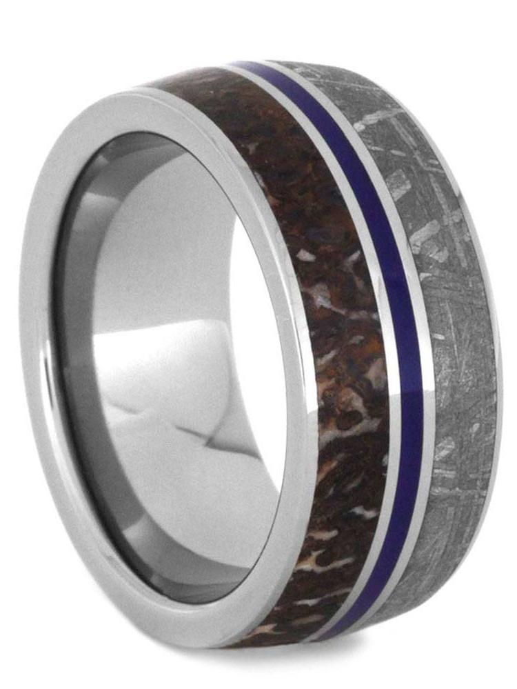 Gibeon Meteorite Ring Dinosaur Bone Wedding Band With Enamel 9mm