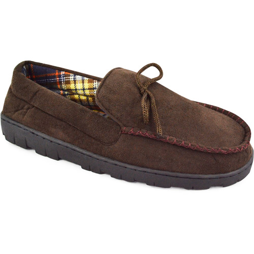 MUK LUKS Men's Polysuede Moccasin Slipper with Flannel Lining