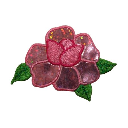 ID 6159 Pink Shiny Rose Flower Patch Glimmer Love Embroidered Iron On Applique