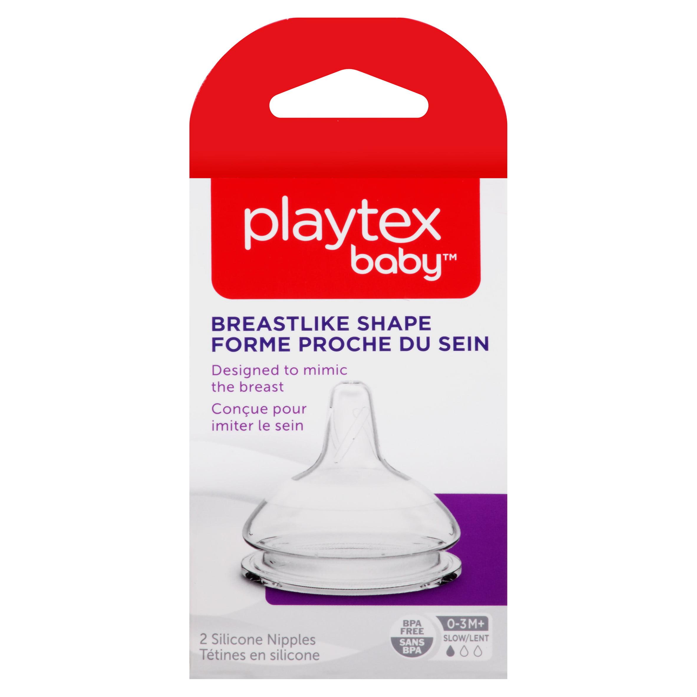 Playtex Baby Breastlike Slow Flow Baby Bottle Nipples 2-Pack
