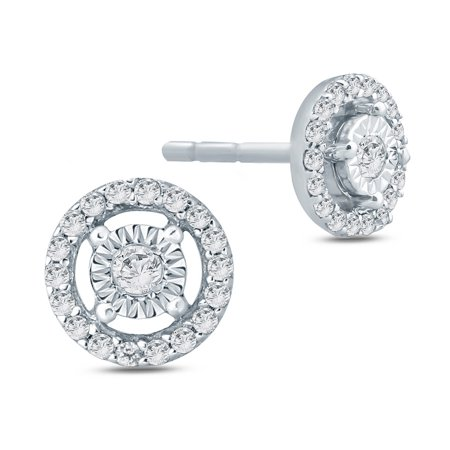 Jewel Monk, 1/10 ct tw round diamond miracle plate stud earring in sterling (1.05 Ct Tw Round Diamonds)