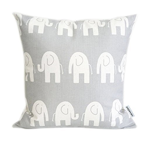 "Fabricmcc Cute Gray Elephant Decorative Pillow Covers,Living Room Couch Cushion pillow case 18x18"" ,Elephant Throw Pillow Cover for sofa,Birthday Gift For Kids"