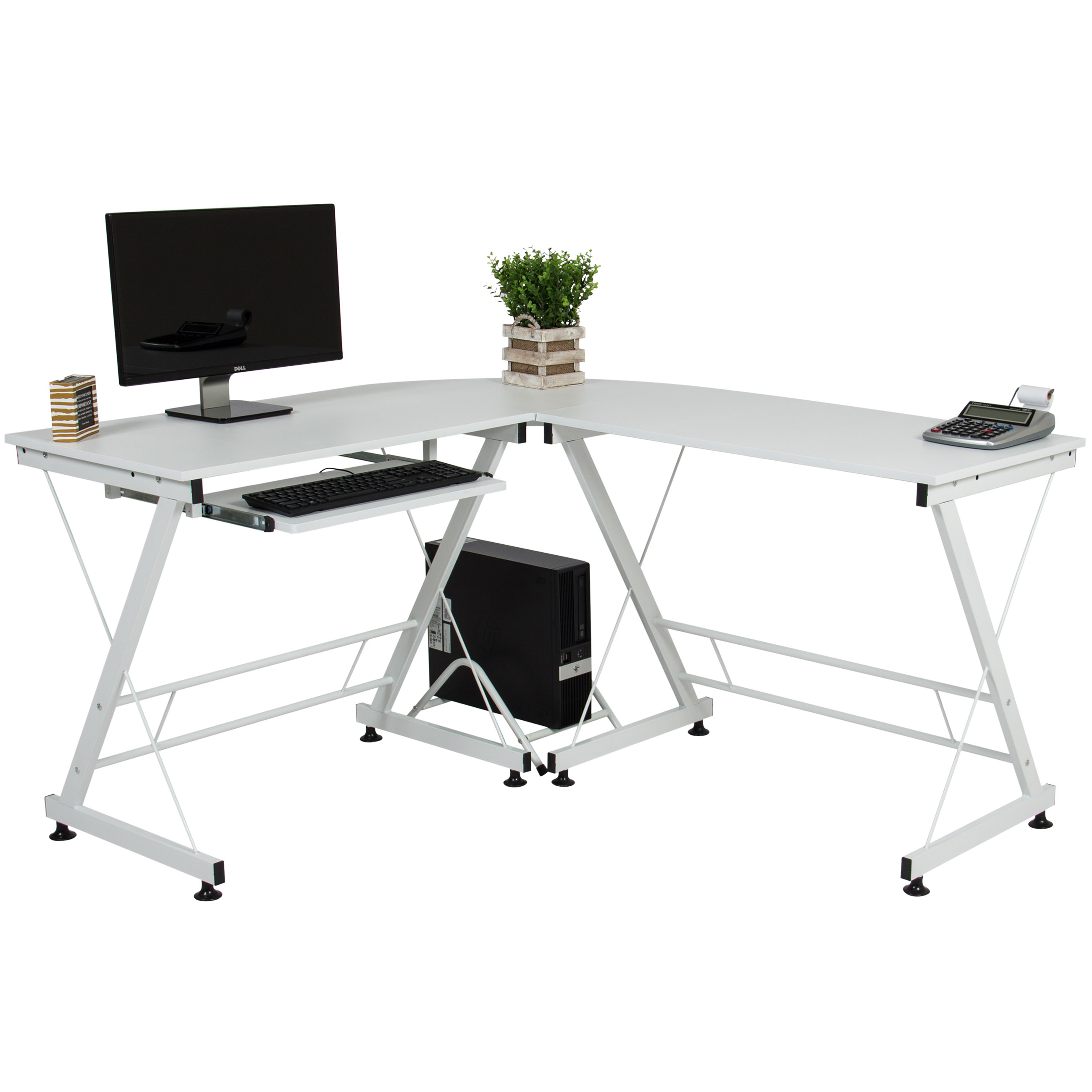 Best Choice Products Wood L-Shape Corner Computer Desk PC Laptop Table Workstation Home Office - White