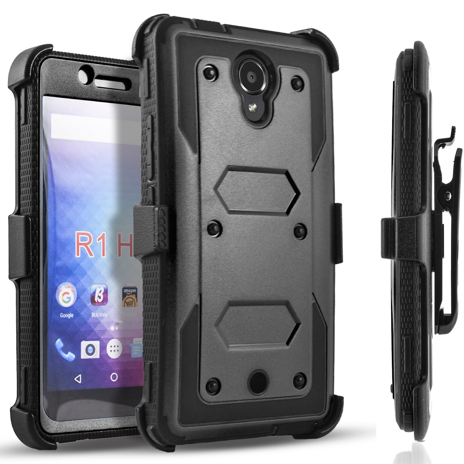 Galaxy S6 Edge Plus Case, [SUPER GUARD] Dual Layer Protection Holster Locking Belt Clip+Circle(TM) Stylus Touch Screen Pen (Black)