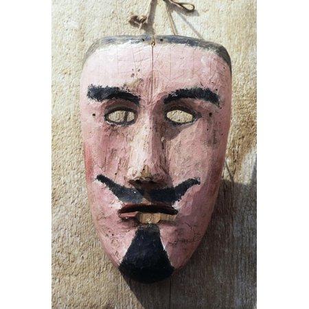 Handcrafted Wooden Carnival Mask, Sauris, Friuli Venezia Giulia, Italy Print Wall Art