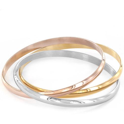 ELYA Stainless Steel Tri-Color Bangle Bracelets, Set of 3