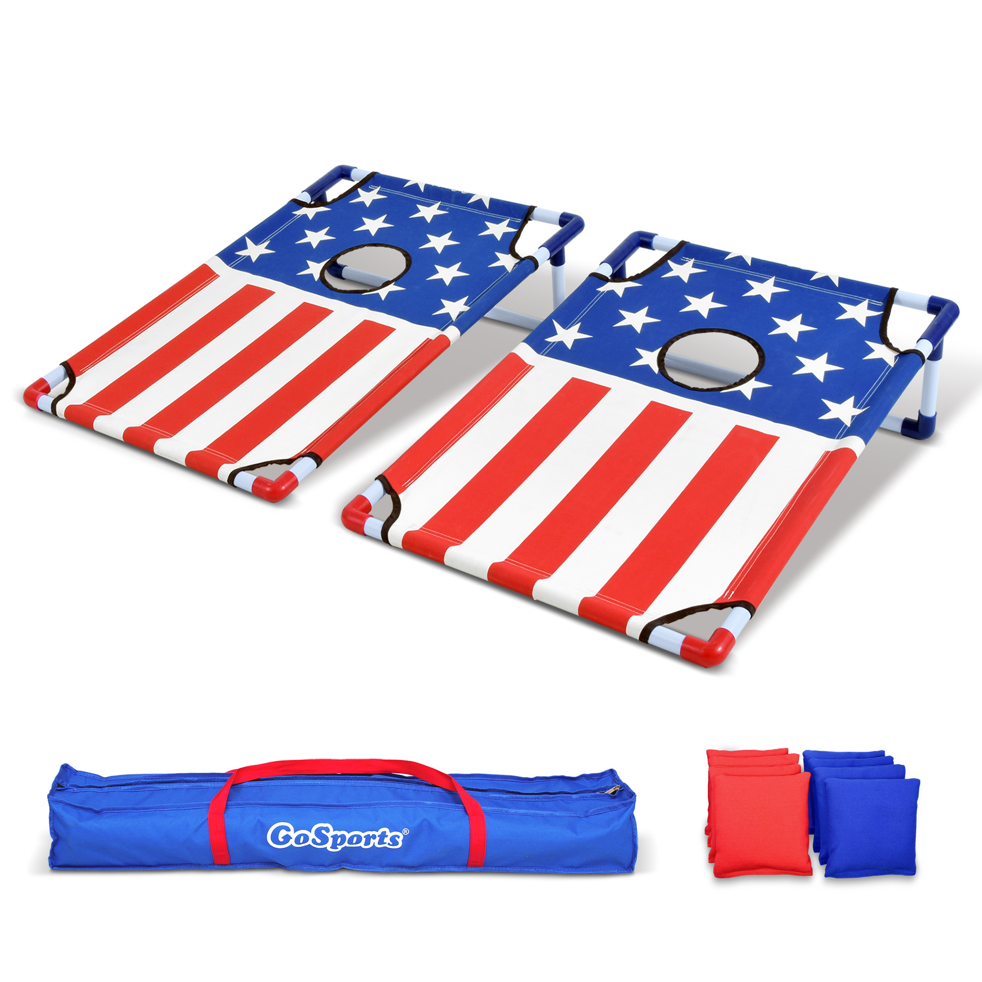 GoSports American Flag Portable PVC Framed Cornhole Game Set with 8 Beanbags & Travel... by P&P Imports LLC