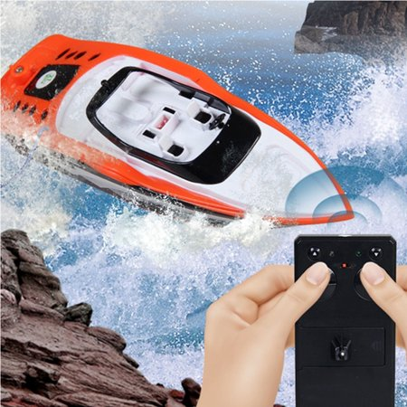 Remote Control Boat, 4-Channel 27MHz Rechargeable Mini Racing Boat RC Boat Children Toy with Remote Controller - Orange