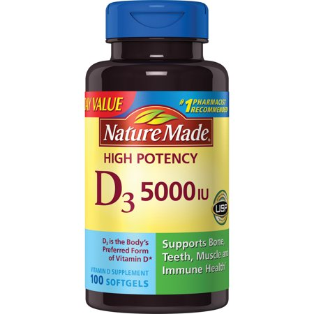 469f26531 Nature Made D3 5000 IU High Potency Softgels Everyday Value