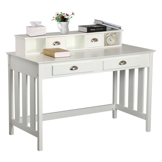Yaheetech Shabby Chic Wooden Writing Desk with Hutch and ...