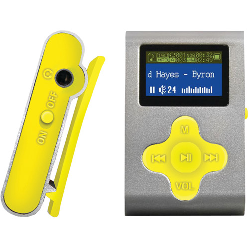 Eclipse Fit Clip 4GB MP3 Player, Silver/Yellow
