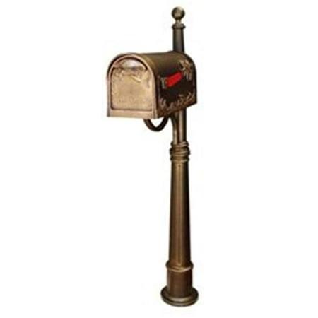 - SCB-1005-SPK600-BRZ Hummingbird Curbside Mailbox with Ashland Mailbox Post Unit - Hand Rubbed Bronze