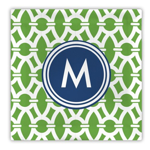 Whitney English Trellis Single Initial Fabric Coaster (Set of 4)