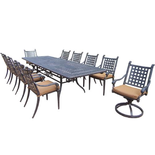 Oakland Living Corporation Plymouth 11-piece Dining Set, with Extendable Table, and Sunbrella Cushioned Chairs, and Swivel Rockers