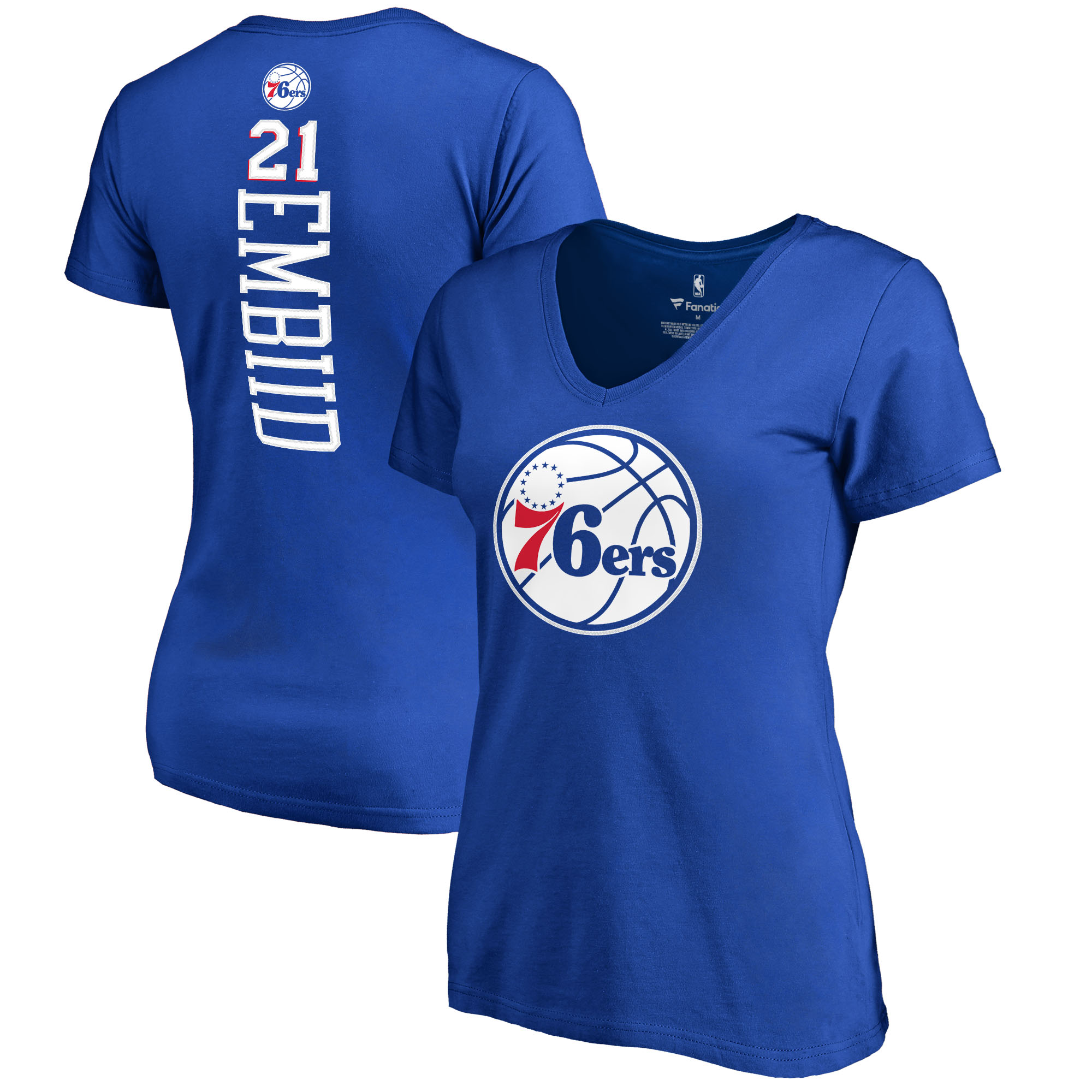 Joel Embiid Philadelphia 76ers Fanatics Branded Women's Backer Name & Number V-Neck T-Shirt - Royal