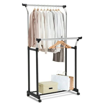 Double Slant Hanger - Costway Double Rail Adjustable Garment Rack Rolling Clothes Hanger Heavy Duty Portable