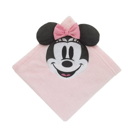 Disney Minnie Mouse Super Soft Corner Applique Baby Blanket with 3D Ears & Bow, Pink, Black & - Toddler Minnie Mouse Ears