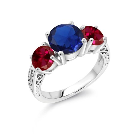 Blue Sapphire Ruby Ring - 4.50 Ct Round Blue Simulated Sapphire Red Created Ruby 925 Sterling Silver Ring