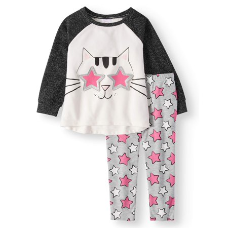 Girl Greaser Outfits (Long Sleeve Raglan 3D Graphic Tunic & Leggings, 2-Piece Outfit Set (Toddler)