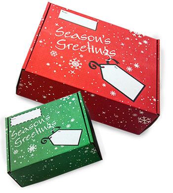 Uboxes Holiday Corrugated Mailing Boxes, Red, 9 x 8 x 3 in., 6 count