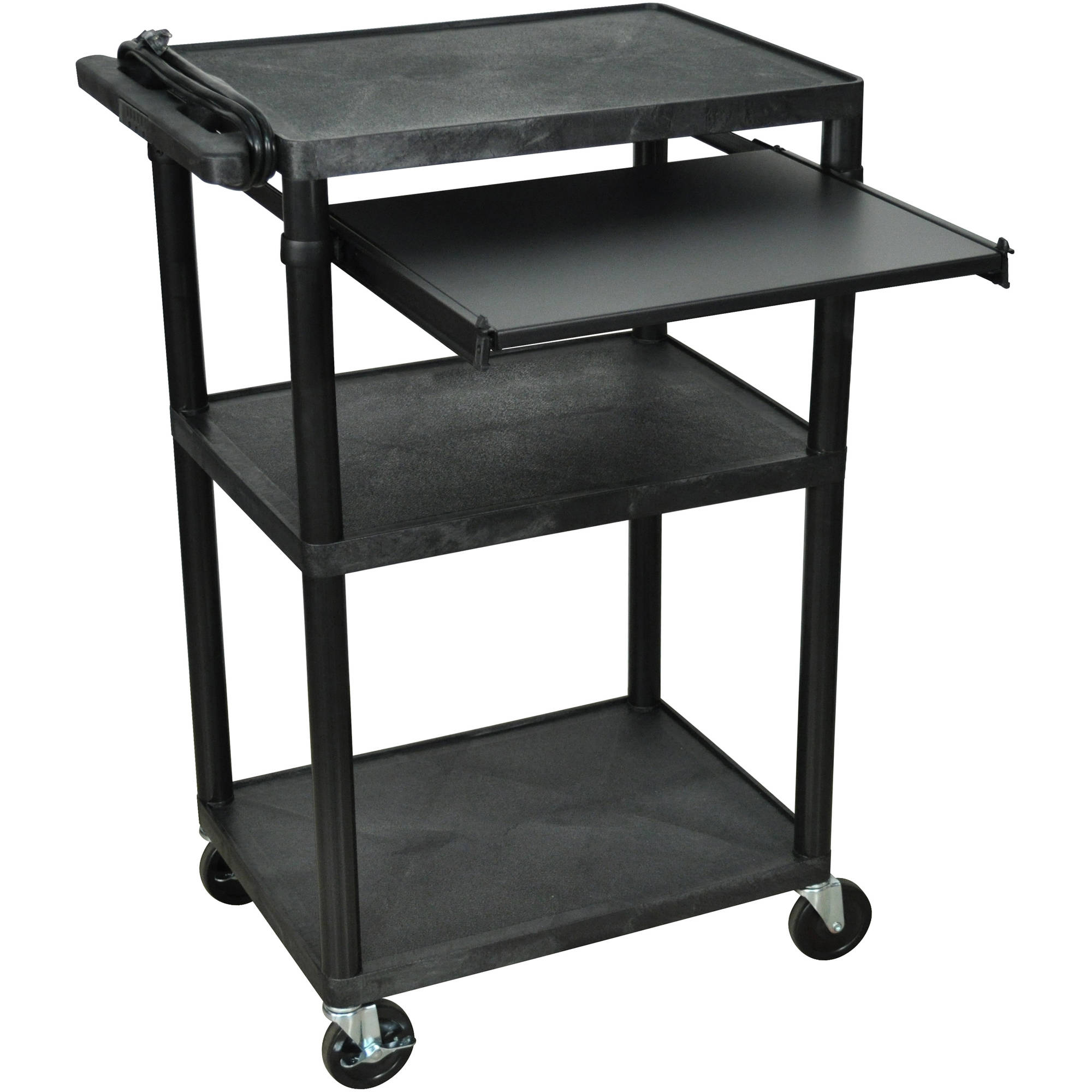 Luxor 3-Shelf A/V Cart with Electric and Front Pullout Shelf, Black