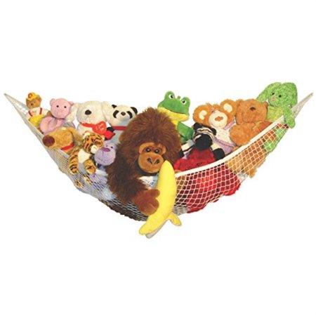 Image of baby buddy's up & away kids storage organizer hammock, easily-installed stuffed animal storage hammock net 5 foot span, keeps toys/dolls/sports/pet toys off floors in bedroom, nursery, playroom (2)