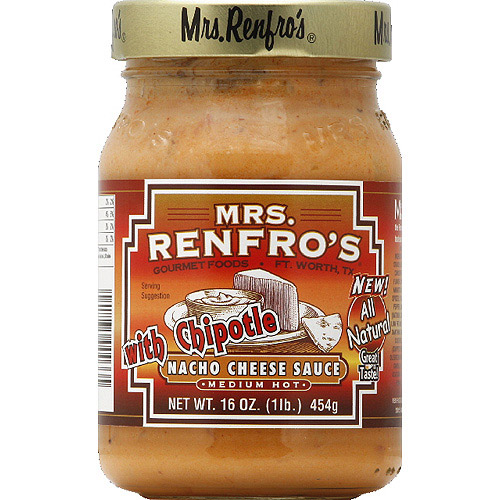 Mrs. Renfro's Medium Hot Nacho Cheese Sauce with Chipotle, 16 oz, (Pack of 6)