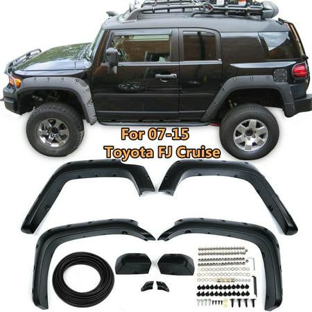 6 Pack ABS Pocket Style Fender Flares Wheel Cover Trip Kit For 07-15 Toyota FJ Cruiser Offroad Black
