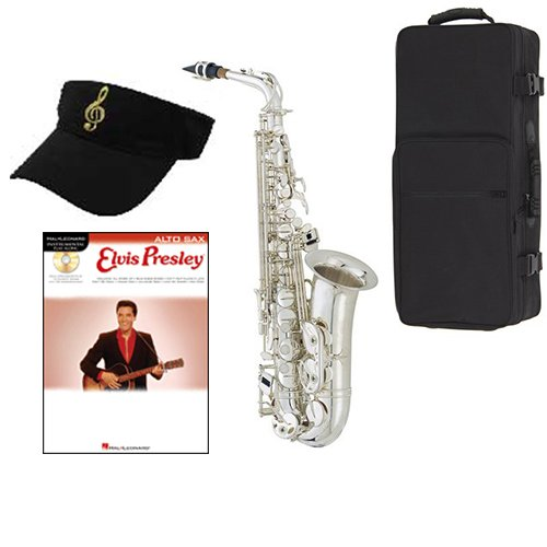Elvis Presley Silver Alto Saxophone Pack Includes Alto Sax w Case & Accessories, Elvis... by Band Directors Choice