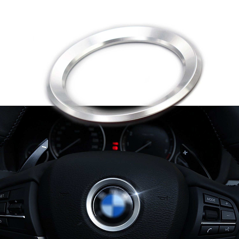 Xotic Tech Steering Wheel Center Logo Ring Emblem Blue Trim For 2013-2015 BMW 1 3 5 Series X3 X5 X6 (1 Set)
