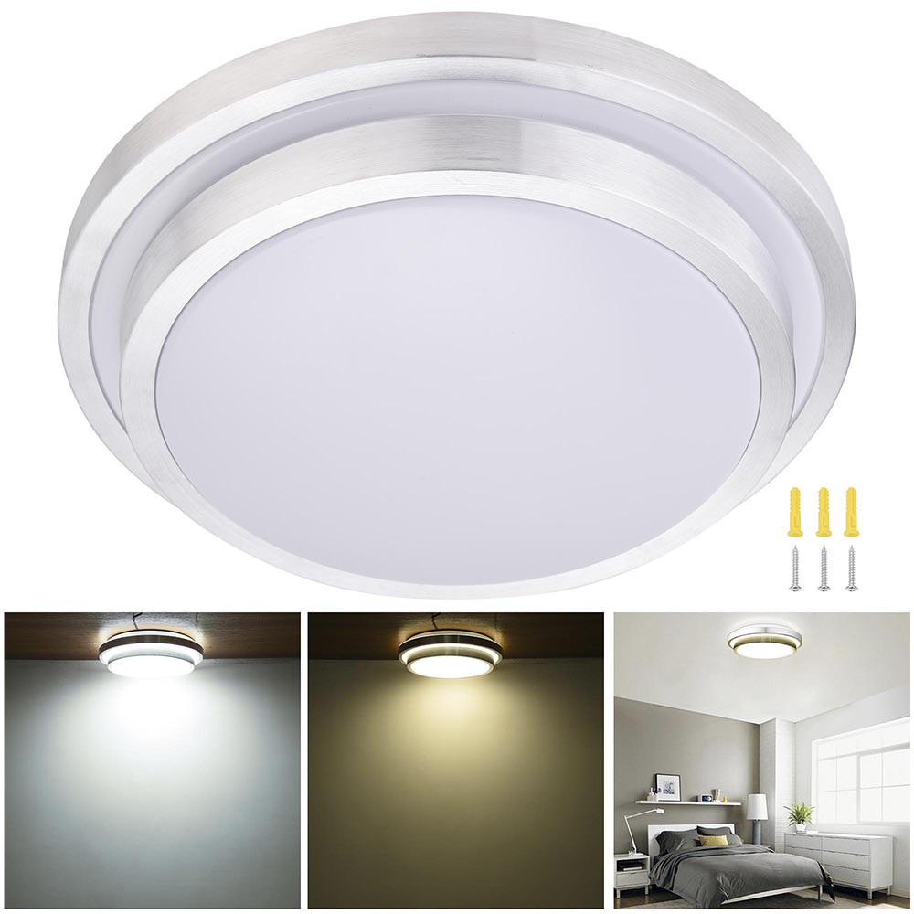 "YesHom 24W 16"" Modern LED Ceiling Light Round Aluminum Flush Mount Bedroom Living Room without Remote Control"