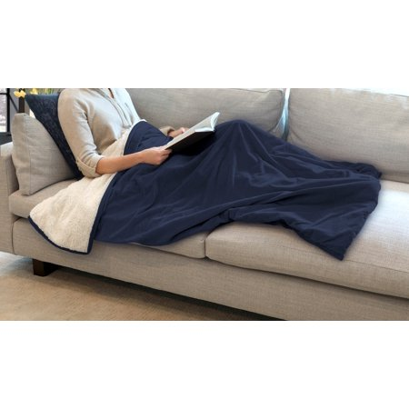 St. James Home Luxury Velvet and Sherpa Foot Pocket Throw, Vintage Indigo, One Size