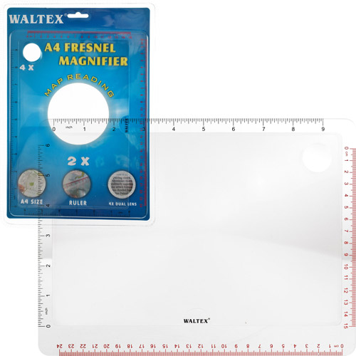 Waltex Fresnel A4 2X-4X Magnifier with Ruler