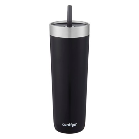 Contigo Luxe Stainless Steel Tumbler with Spill-Proof Lid and Straw | Insulated Travel Tumbler with No-Spill Straw, 24 oz, Licorice - Tumblers With Lids And Straws