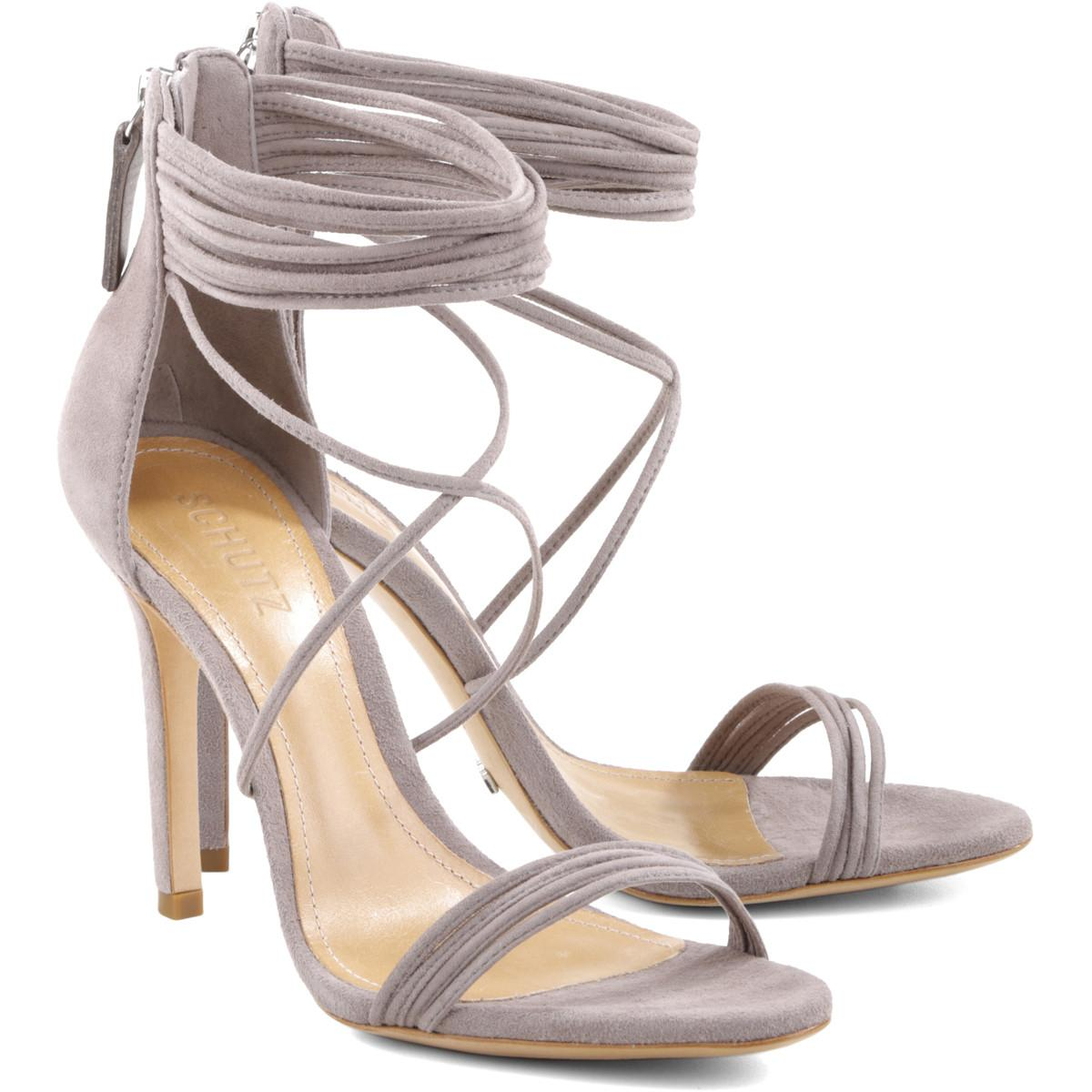 Schutz Women's Amandita High Mouse Taupe Multiple Strappy High Amandita Heel Sandal Pumps (9) 382f29