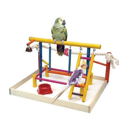 Bird Toy Activity Center With Perches, Ladders, Bell, and Rope Large 18.5 Inch Height, Bird toy is great fun and provides stimulation for your bird.., By Penn (Bell Ladder)