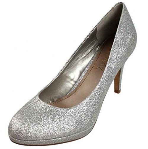 Amiana Women's Pump, Silver Glitter, 4 US