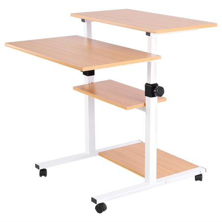 Computer Laptop Book Storage Desk Table - 4 Layers Shelf Portable Rolling Wheel Presentation Cart - Adjustable Height Durable Home/Office Stand Up Desk