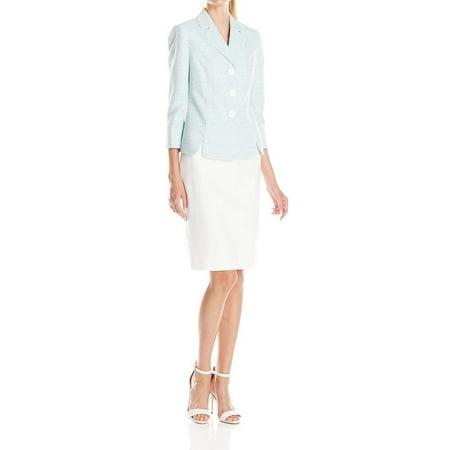 Stitch 3 Button Suits - New  1315 Le Suit White Women 3-Button Blazer Skirt Suit Set Teal Size 14P $200.00