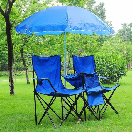 double folding chair w umbrella table cooler fold up picnic camping