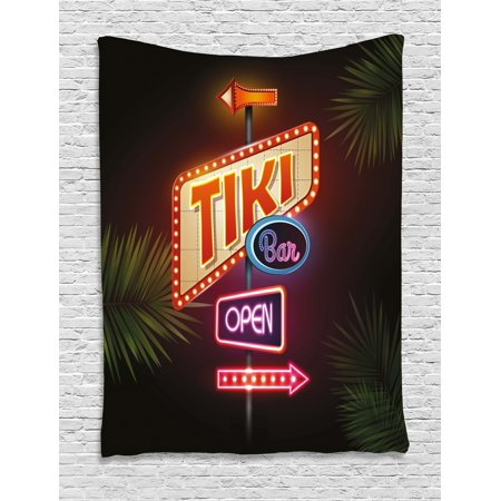 Tiki Bar Decor Tapestry, Old Fashioned Neon Signs Illustration Open Bar Palm Tree Branches Roadside, Wall Hanging for Bedroom Living Room Dorm Decor, 60W X 80L Inches, Multicolor, by Ambesonne (Tiki Bar Neon)