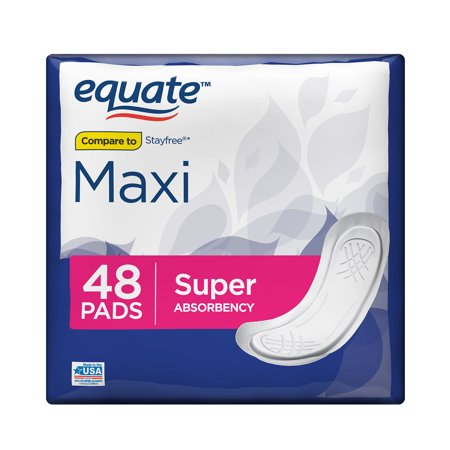 Equate Maxi Pads with Aloe, Moderate, Super, 48 Count (Sonnenbrille Pads)