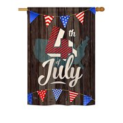 """Breeze Decor H111081-BO 4th of July Americana Fourth Impressions Decorative Vertical 28"""" x 40"""" Double Sided House Flag"""