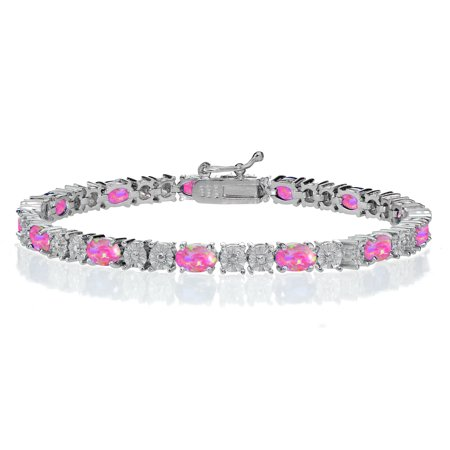 White Gold Pink Tourmaline Bracelet - Silver Tone Simulated Pink Opal & Diamond Accent Oval Tennis Bracelet